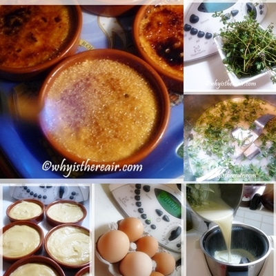 Making Thyme Infused Creme Brulee