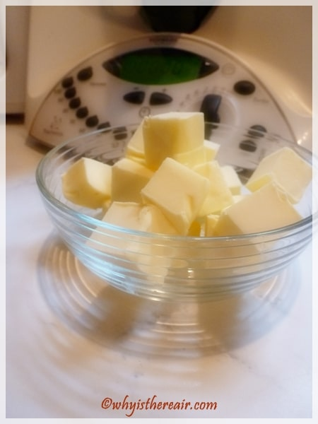 Freezing your diced butter for at least 10 minutes ensures really flaky pastry