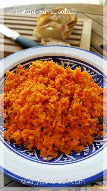 Instant carrot salad - complete with dressing - in one step and in 2 seconds!