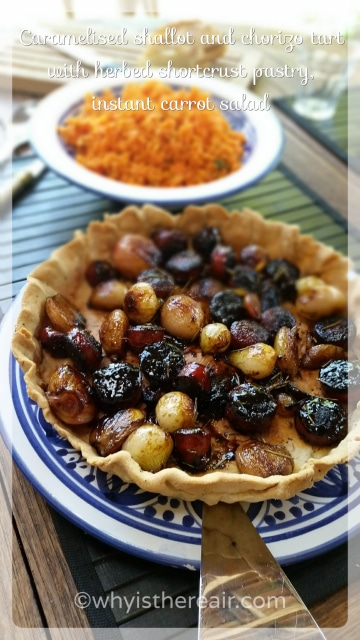 Caramelised Shallot and Chorizo Tart on Herbed Shortcrust Pastry by Madame Thermomix