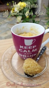 Enjoy your Magic Minute Microwave Mug Cake with a cup of tea or coffee