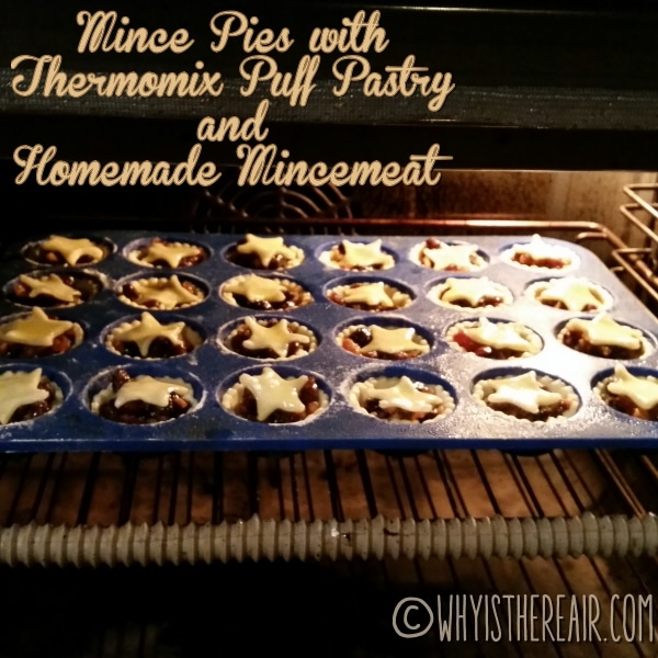I baked my Thermomix mince pies at 220 degrees C for about 15 minutes. Ovens vary, so make sure to watch yours carefully!
