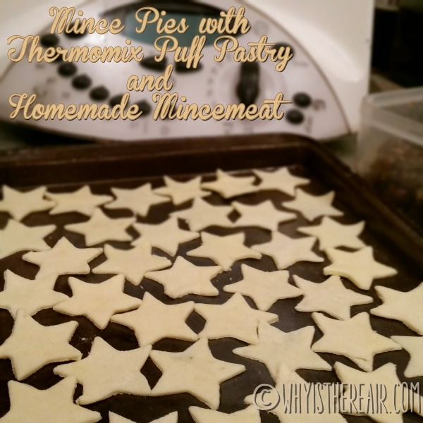 I cut out little star shapes from the offcuts of my Thermomix puff pastry and popped them in the freezer whilst filling my mini mince pies