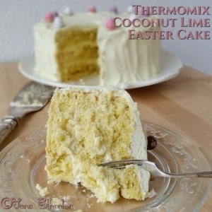 This Sugar Free Thermomix Coconut Lime Easter Cake is made with Natvia 100% Natural Sweetener and it's delicious!