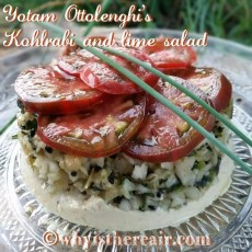 Here's a nifty serving suggestion for your Kohlrabi and Lime Salad: served on a bed of hummous and topped with fragrant, ripe tomatoes