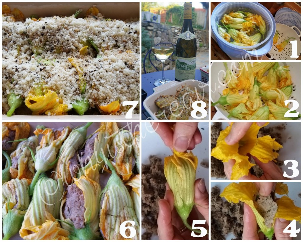 Here's my method for stuffing courgettes: 1. Wash the courgette flowers to remove all traces of dirt, sand and/or insects.  2. Drain well and pat dry or gently spin in a salad spinner. 3. Take the courgette flowers one by one and delicately open the petals. 4. Stuff each flower with a bit of stuffing (a tablespoon or two, depending on flower size), and then 5. Gently twist the petals to close the flower. 6. As you go along, arrange the stuffed flowers in a greased baking dish. 7. Sprinkle them over the stuffed flowers. 8. Bake about 20 minutes or until the stuffing is cooked and the breadcrumbs are nicely golden.
