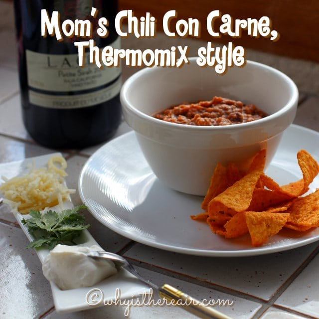 My Mom's Chili Con Carne is delicious served with steamed Thermomix rice, grated cheese, crème fraîche or sour cream, sliced spring onion and some fresh coriander leaves