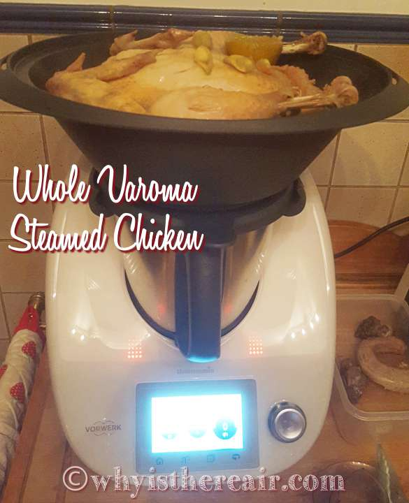 This is a 2.3 kg whole chicken steamed in the Thermomix TM5 Varoma steamer