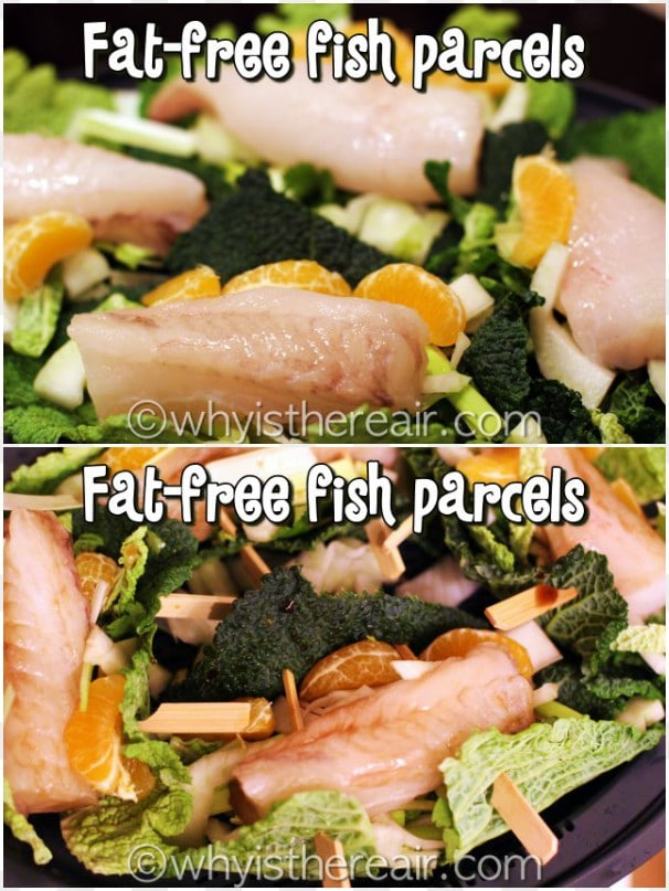 Assemble your fish parcels, secure them with toothpicks, arrange them in the Varoma dish and sprinkle with soy sauce or Bragg's and some fish sauce