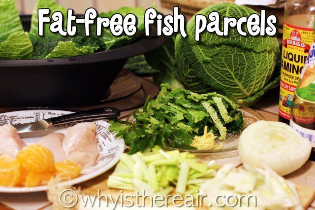 Start with some lovely, fresh ingredients including savoy cabbage, fennel, spring onion, ginger, orange and fresh fish
