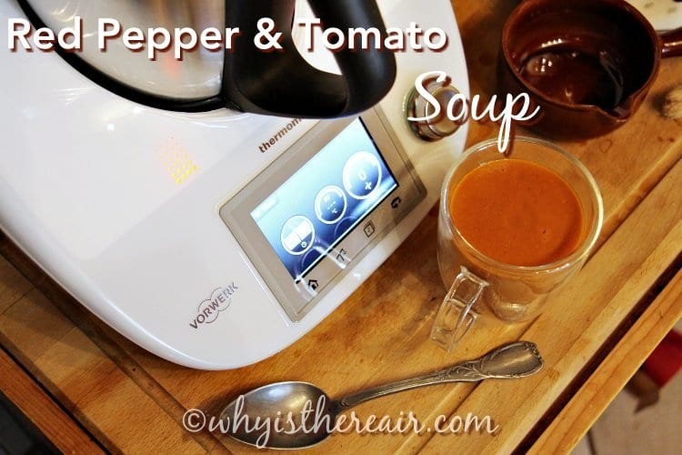 This Red Pepper (capiscum) and Tomato Soup is lovely and thick. Try it with a bit of cream, some croutons and sprinkle it with fresh chopped herbs.