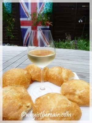 Gougeres are traditionally served with white wine in Burgundy