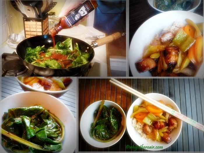 ThermoHubby John makes Stir-Fried Spinach and Sweet and Sour Pork with Sweet Mandarin's Barbecue Sauce and Sweet and Sour Sauce