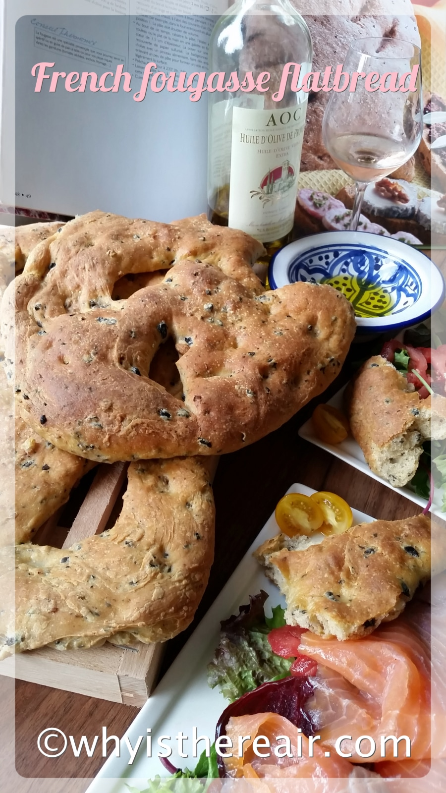 Savoury fougasse flatbread is perfect for your picnics, with wines or with dinner