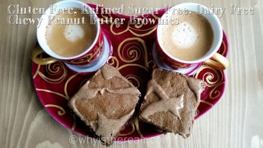 With a coffee for the adults or a healthy juice for the kids, these Chewy Peanut Butter Brownies have a subtle peanut butter taste with a hint of caramel