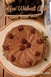 There's a lovely coffee flavour in both th cake and the icing of this Coffee Walnut Cake