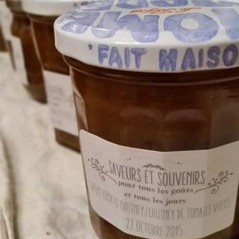 Freshly-filled jars of Thermomix Green Tomato Chutney sporting the logo of my French brand, Saveurs et Souvenirs
