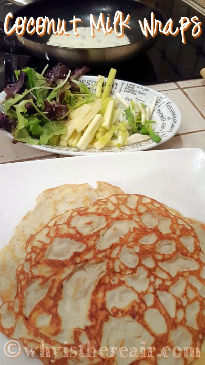 My pile of crêpes grows in front of my plate of fillings with my next crêpe in the background ;-)