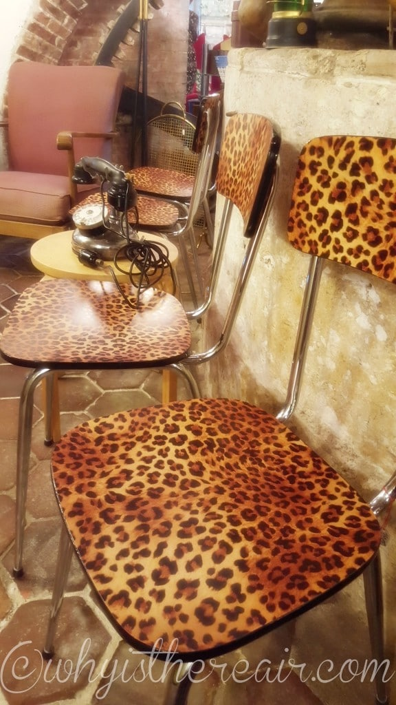 Don't you just love the chic oozing from these fab leopard-look chairs?