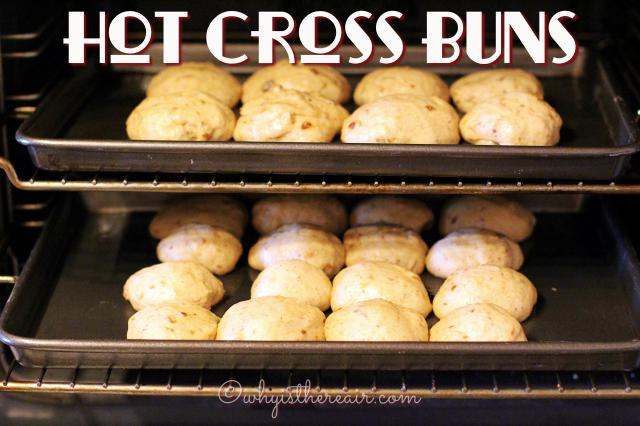 Second rise: My formed bun dough has been placed on the baking tray and has risen to 1 1/2 times its original size