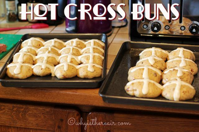 My buns are all piped with crosses and ready for the oven