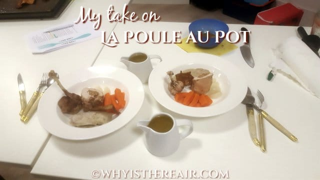 Here are my two dishes of Poule au Pot at the end of the contest time period. I'm so glad I finished!
