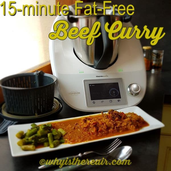 My 15-minute Fat-Free Beef Curry is just that: it takes 15 minutes to knock together and there's no fat!