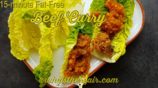 "Little gem lettuce leaves make nice ""boats"" in which to serve your 15-minute Fat-Free Beef Curry"