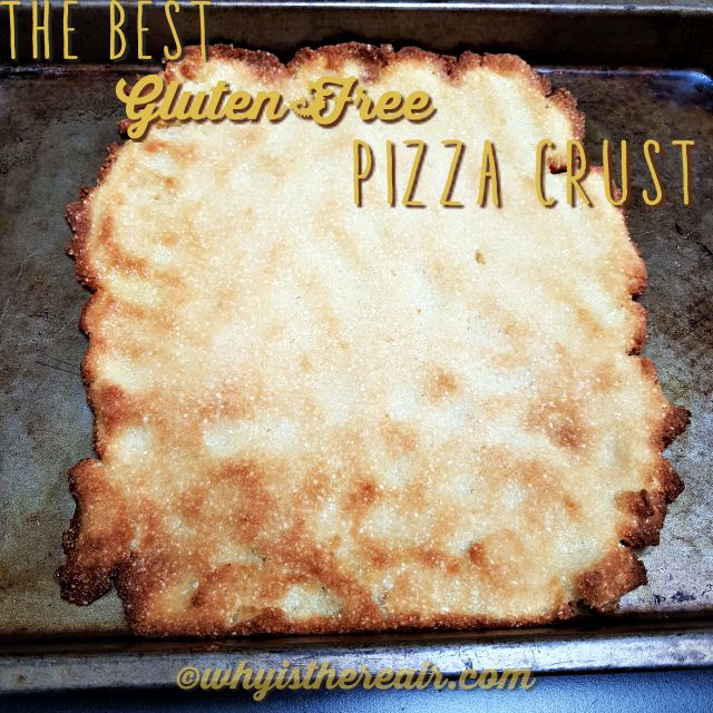 Par-bake your gluten-free pizza crust until it just begins to crack. Here it is a bit too done so I have reduced cooking times in my recipe adaptation